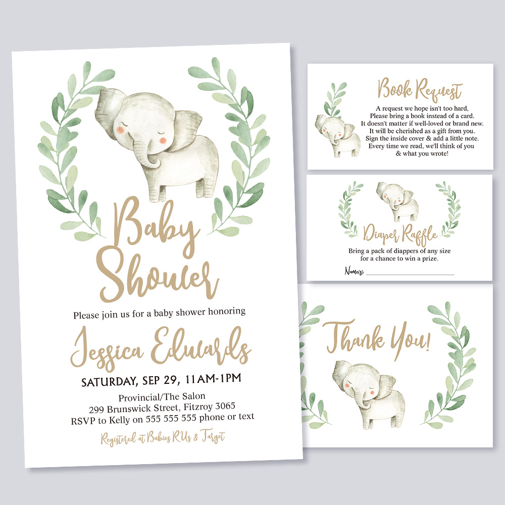 Cute Watercolor Elephant Baby Shower Greenery Invitation Kit PBBA001