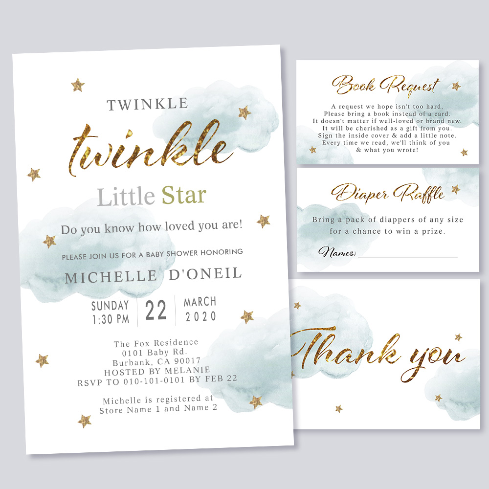 Twinkle Little Star & Cloud Baby Shower Invitation PBBA002