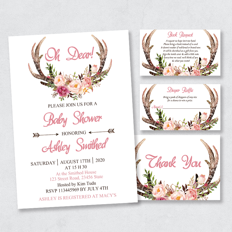 Floral Antler Barn Baby Shower Invitations PBBA006