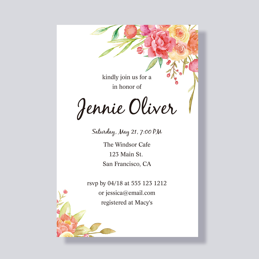 Corals, Orange, Pinks And Greens Colorful Bridal Shower Party Invitation PBBRI002