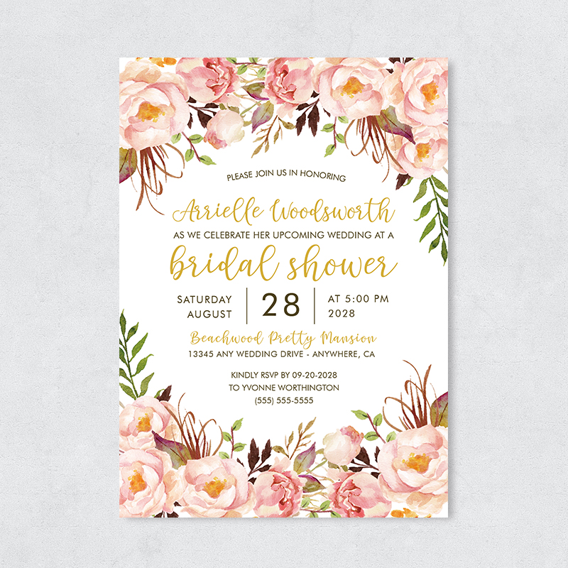 Rustic Pink Floral Bridal Shower Party Invitation PBBRI004