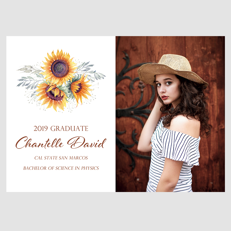 Sunflower Burst Photo Graduation Announcements PBGR001