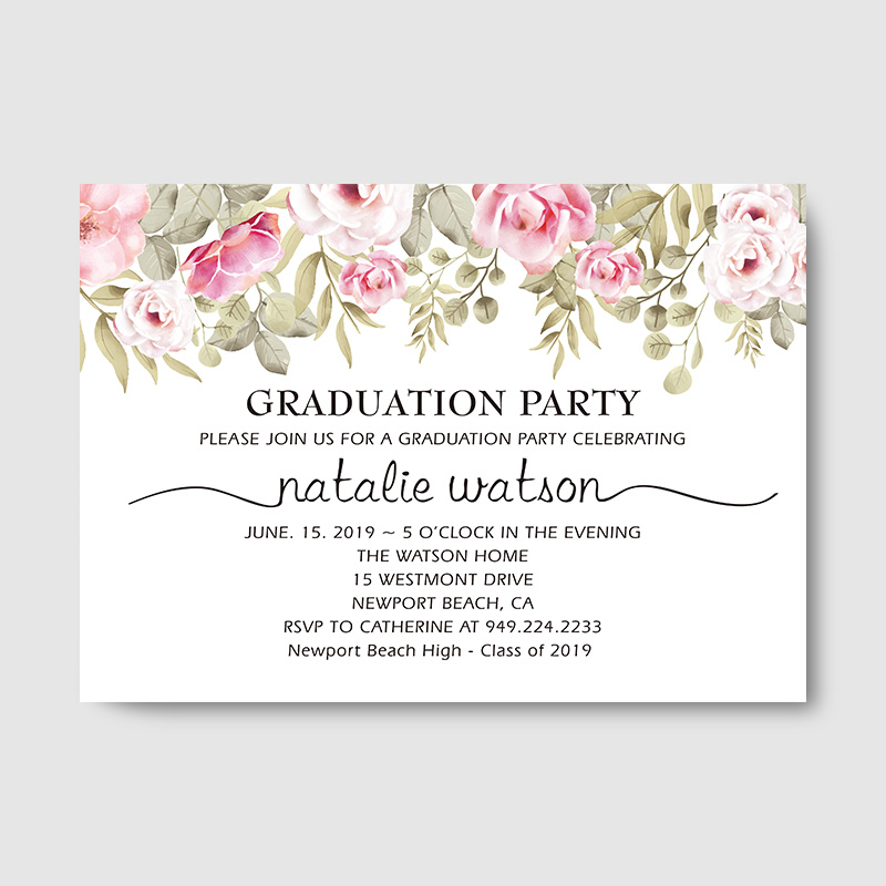 Graduation Party Invitation, High School Graduation, Class Of 2020, Open House Invitation Floral Invite Card PBGR002