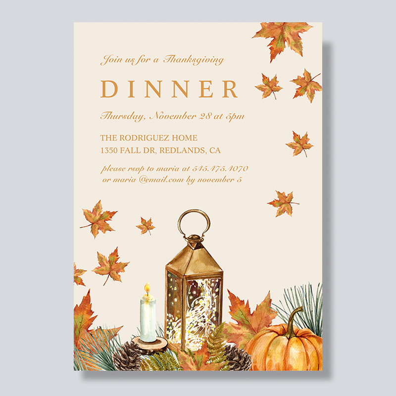Vintage Maples Thanksgiving Dinner Invitations PBHAL001