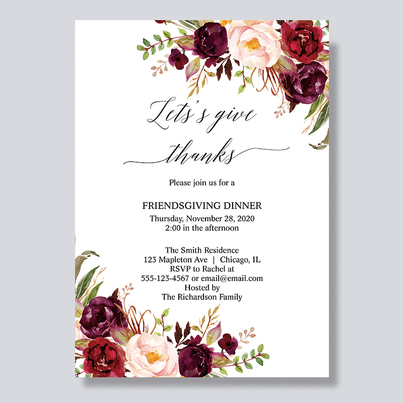 Rustic Marsala Floral Thanksgiving Dinner Invitations PBHAL002