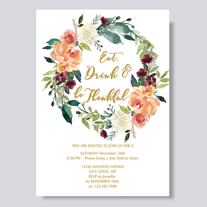 Eat Drink and Be Thankful Invitation Thanksgiving Dinner Invitations PBHAL003