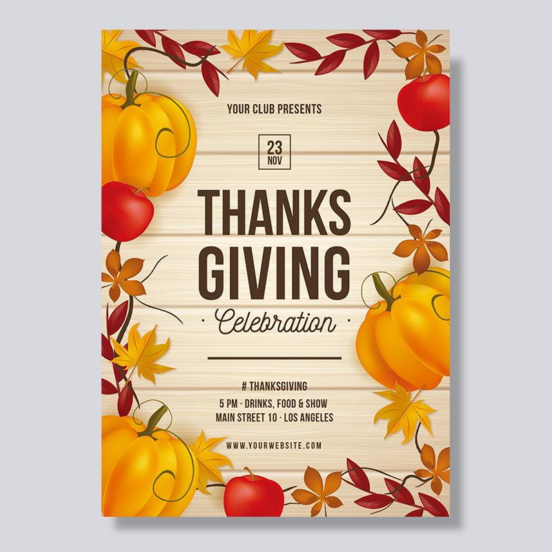Wooden Maples and Pumpkin Thanksgiving Dinner Invitations PBHAL004