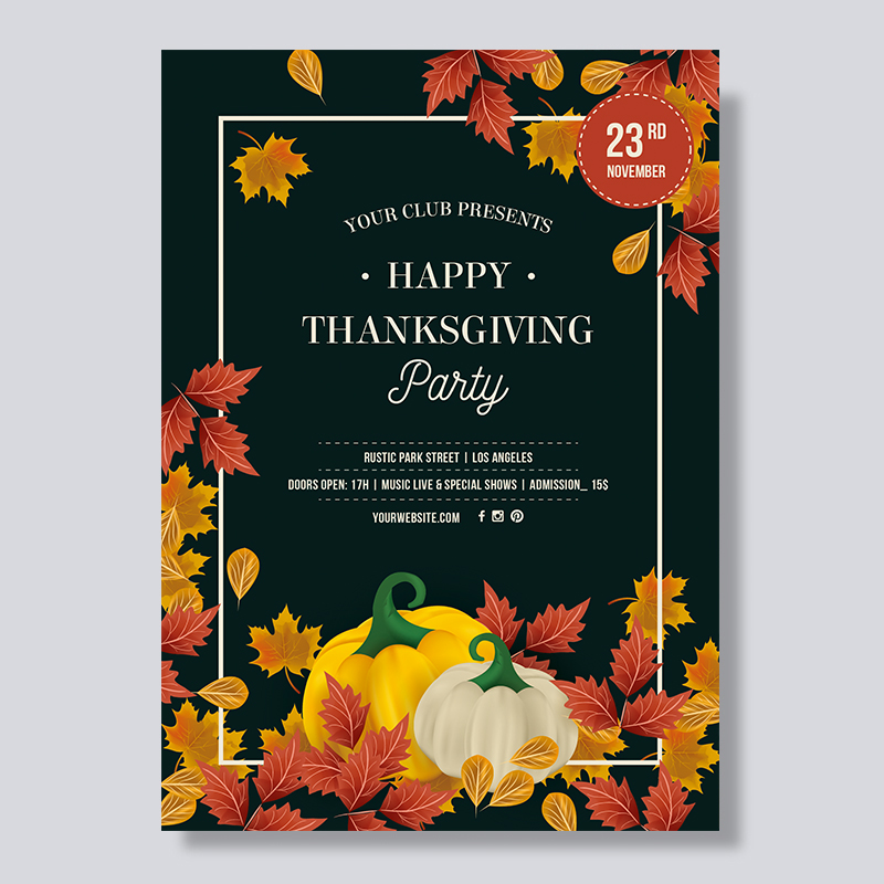 Autumn Leaves and Pumpkin Thanksgiving Dinner Invitations PBHAL005