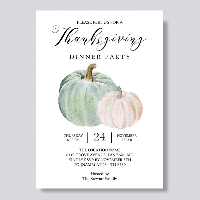 Friendsgiving Pumpkin Thanksgiving Dinner Invitations PBHAL006