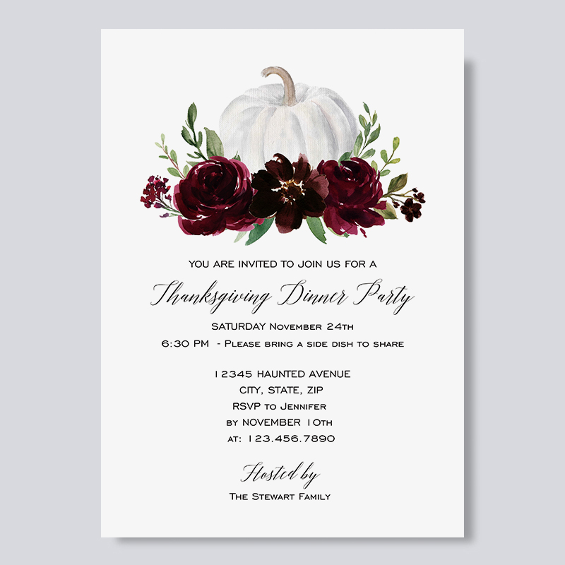 Pumpkin and Wine Red Floral Thanksgiving Dinner Invitations PBHAL007