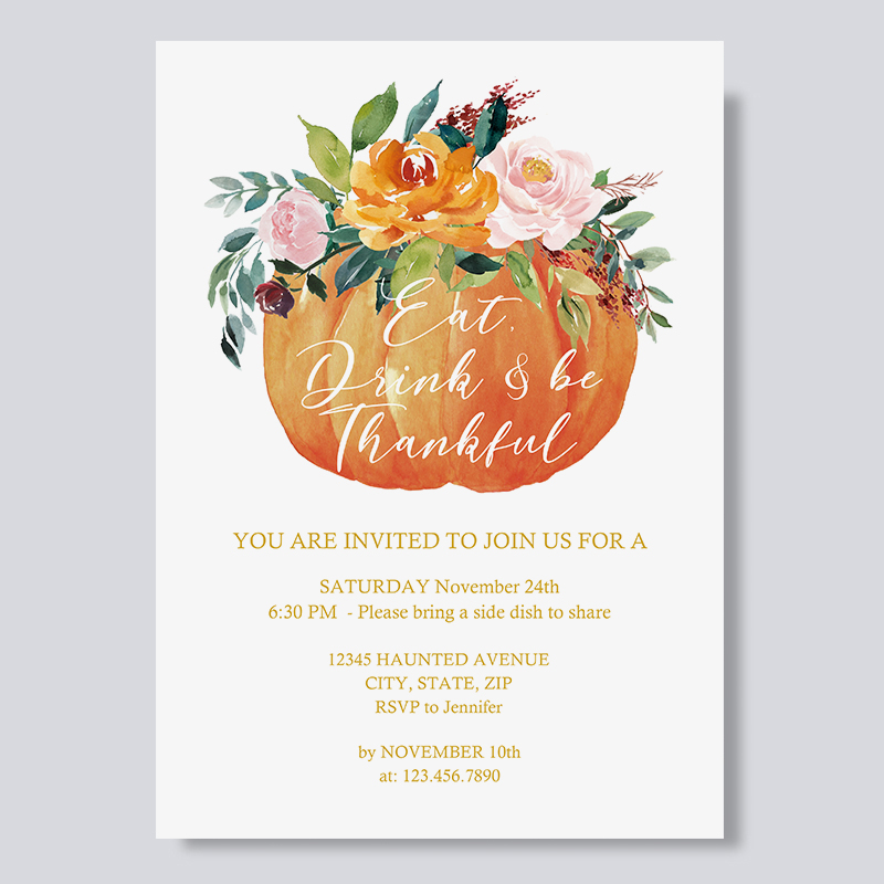 Pumpkin and Rustic Colorful Flowers Thanksgiving Dinner Invitations PBHAL008