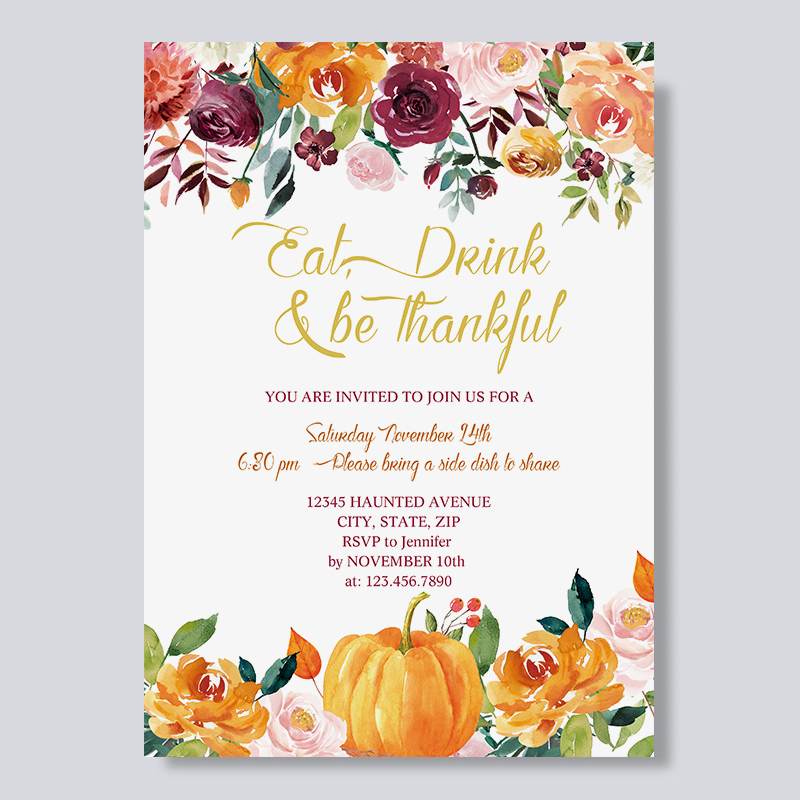 Border of Rustic Pumpkins and Flowers Thanksgiving Dinner Invitations PBHAL009