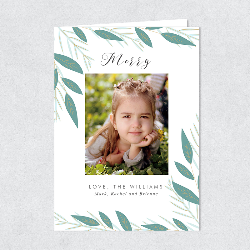 Joyful Pine Custom Photo Christmas Holiday Card PBHAL013
