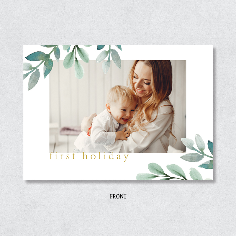 Lush Leafy Corners Family Photo Christmas Holiday Card PBHAL016