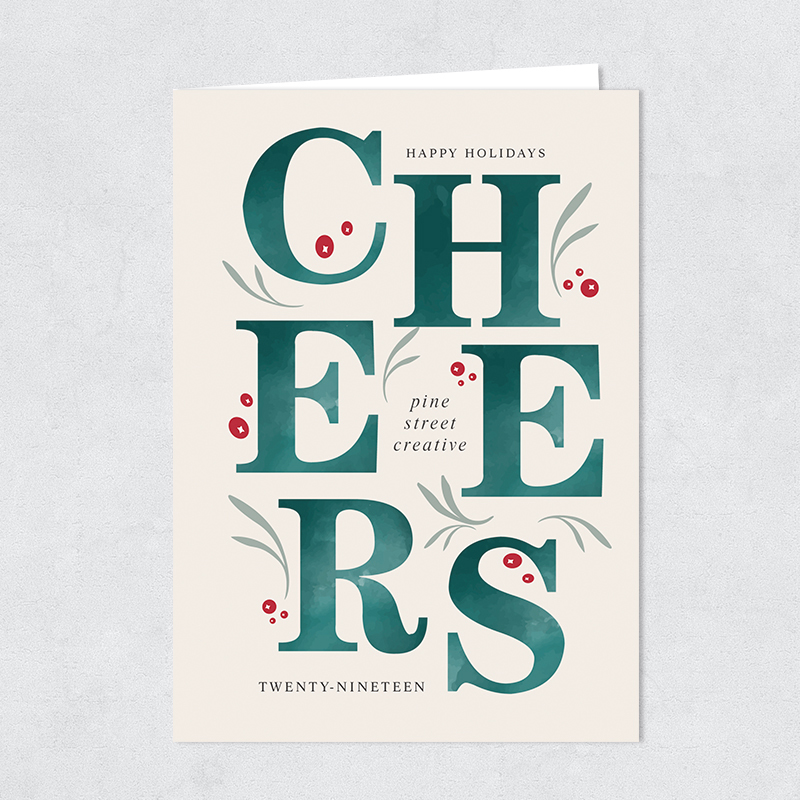 Stacked Cheers Corporate Holly Berry Christmas Holiday Card PBHAL017