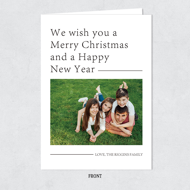 Merry Christmas Modern Typography Photo Holiday Card PBHAL018