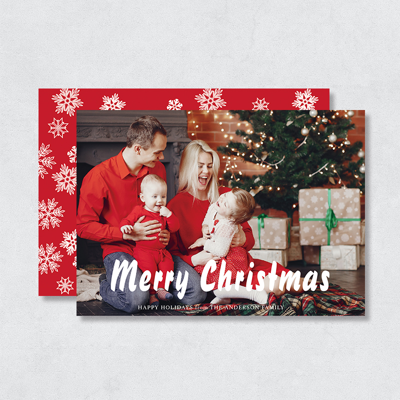 Merry Christmas Snowflake Holiday Photo Card PBHAL019