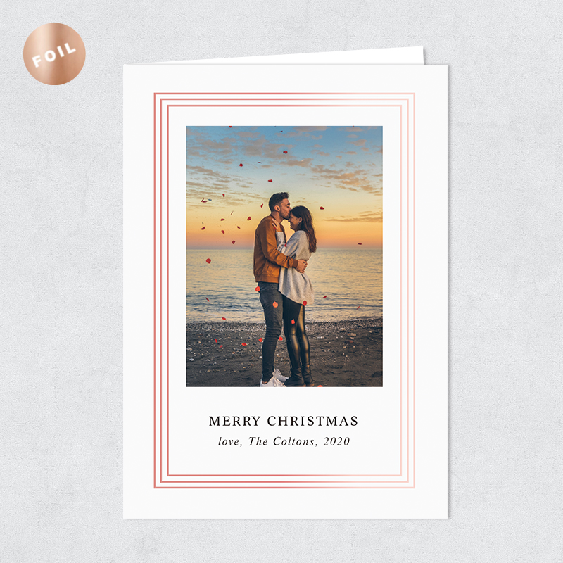 Rose Gold Foil Framed Photo Holiday Card PBHAL024
