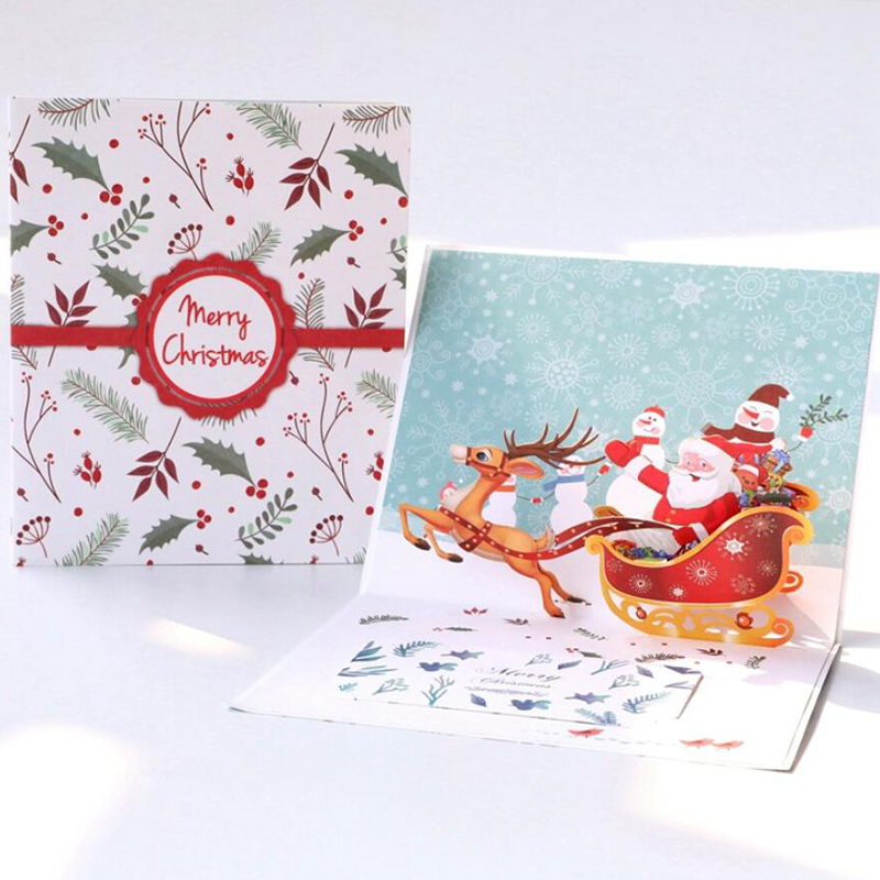 3D Merry Chrismas Card Christmas Pop Up Card Greetings Card PBHAL025