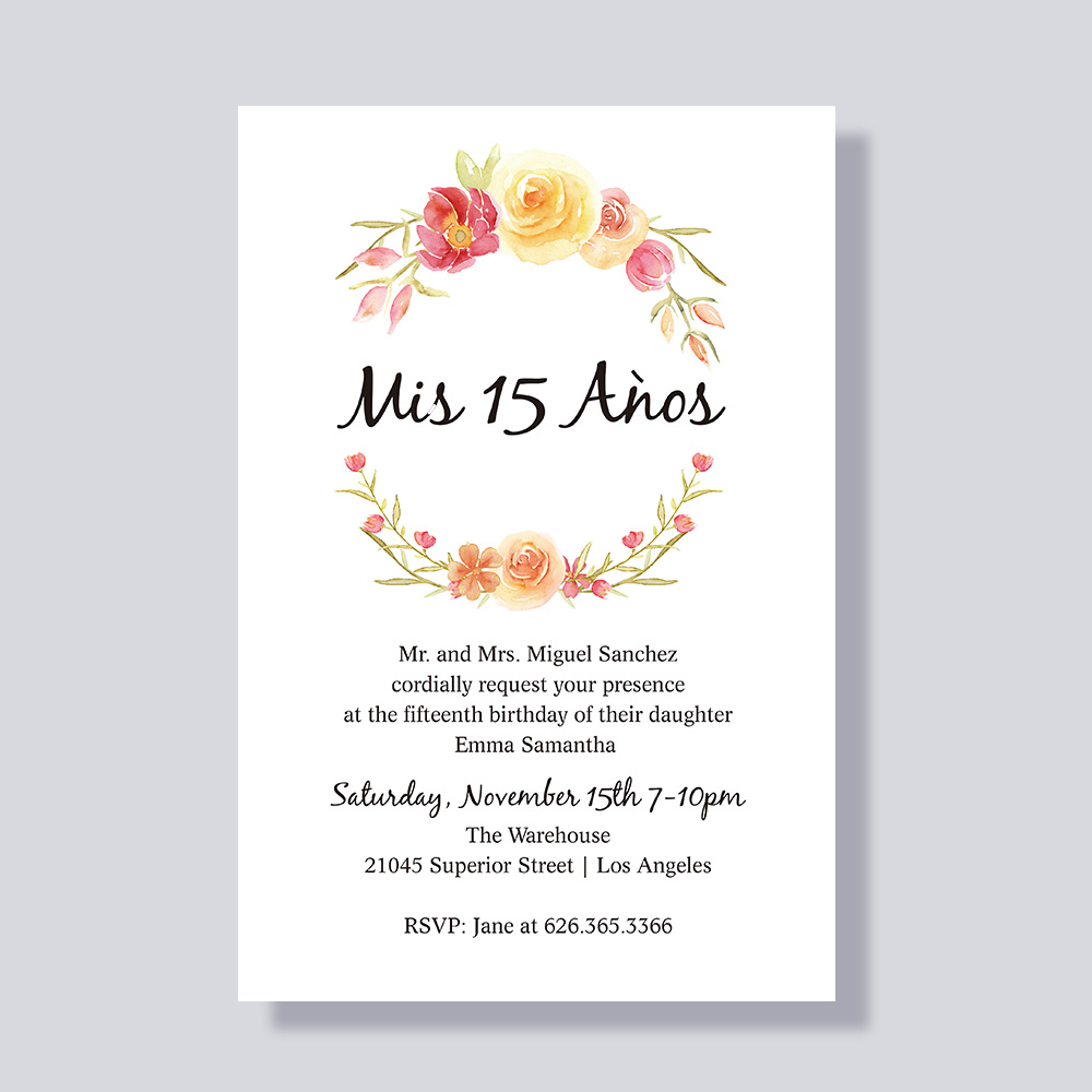 Corals, Orange, Pinks And Greens Colorful Floral Quinceañera Birthday Party Invitation Cards PBQUI004
