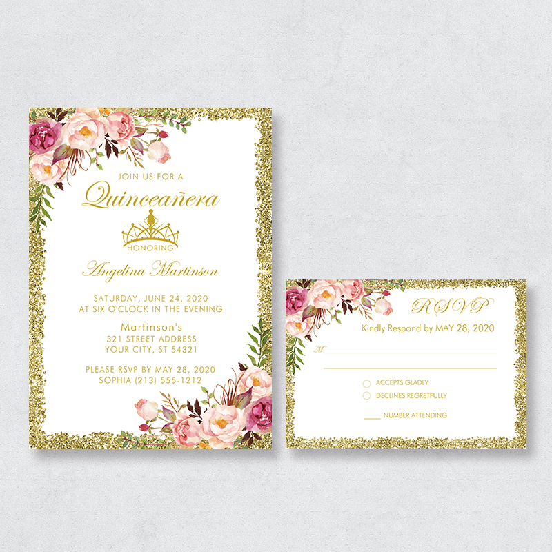 Rustic Flowers With Faux Glitter Border Quincea?era Invitation Cards PBQUI006