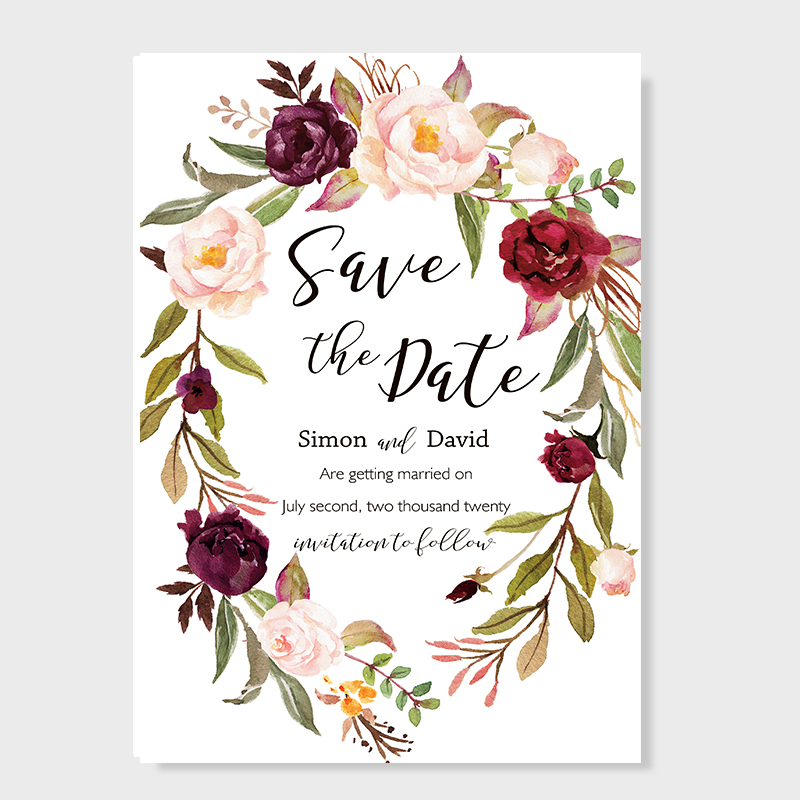 Marsala Burgundy Floral Save The Date Wedding Announcement Cards PBSAVF001