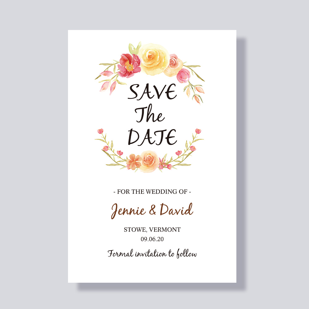 Corals, Orange, Pinks And Greens Colorful Floral Save The Date Wedding Announcement Cards PBSAVF002