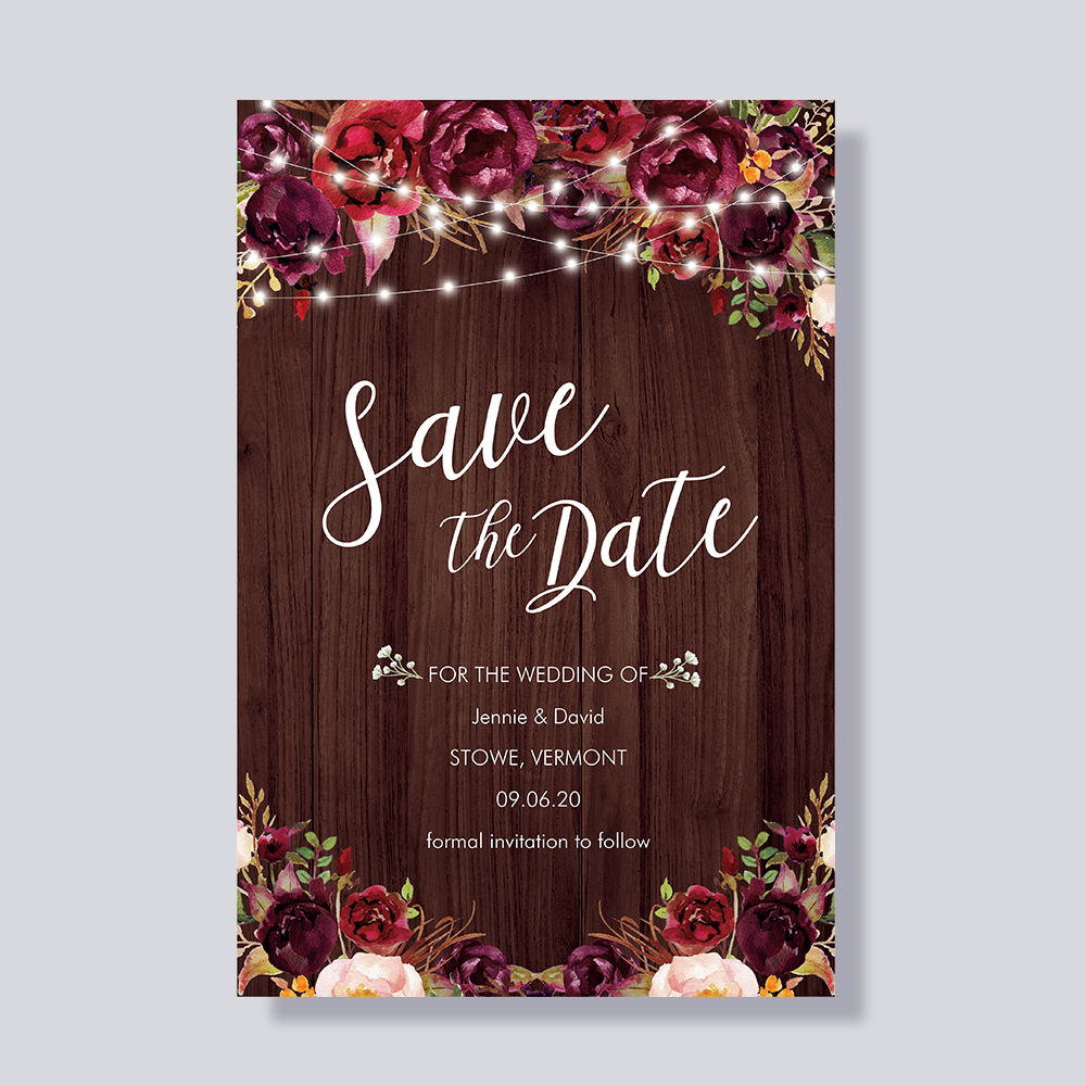 Rustic Baby\'s Breath Burgundy Mason Jar Country Save The Date Wedding Announcement Cards PBSAVF003