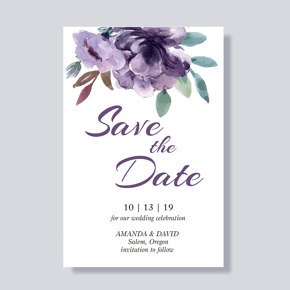 Delicate Plum and Lavender Floral Save The Date Wedding Announcement Cards PBSAVF004