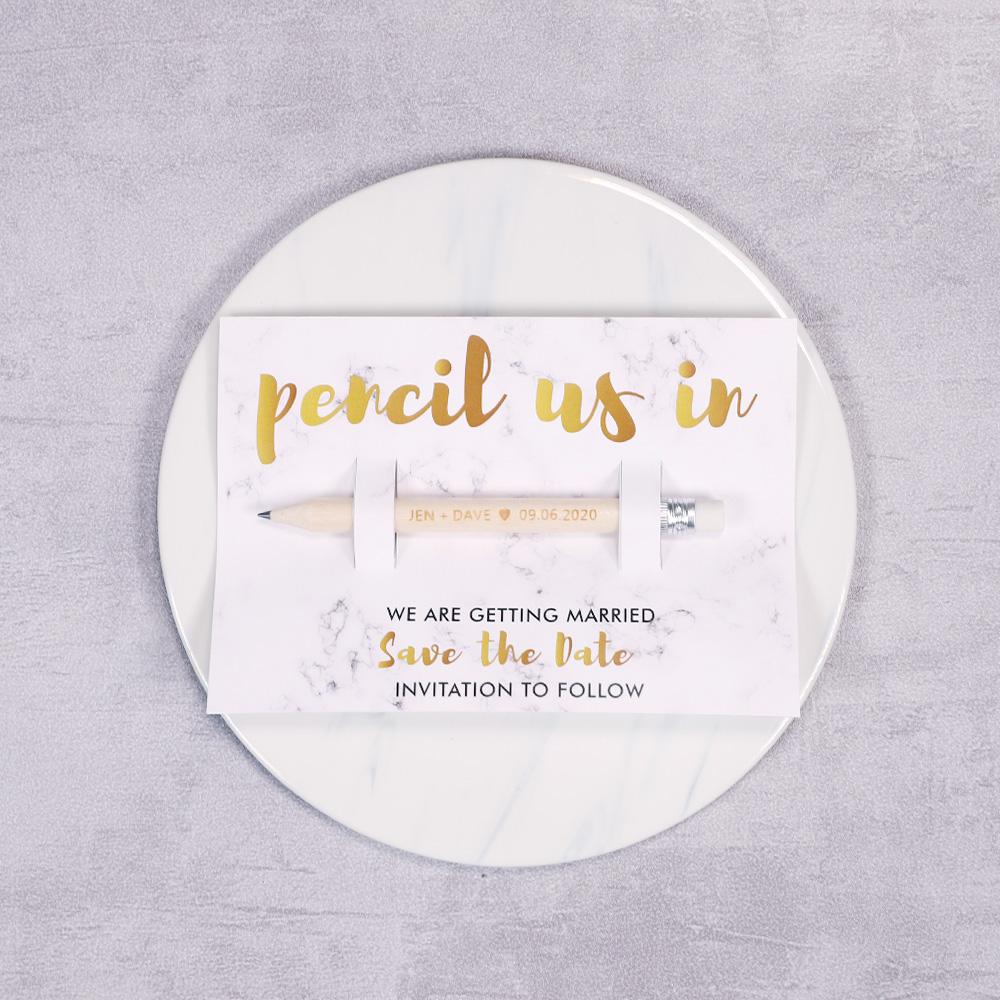 Pencil Us In Gold Marble Save the Date Cards PBSAVF007