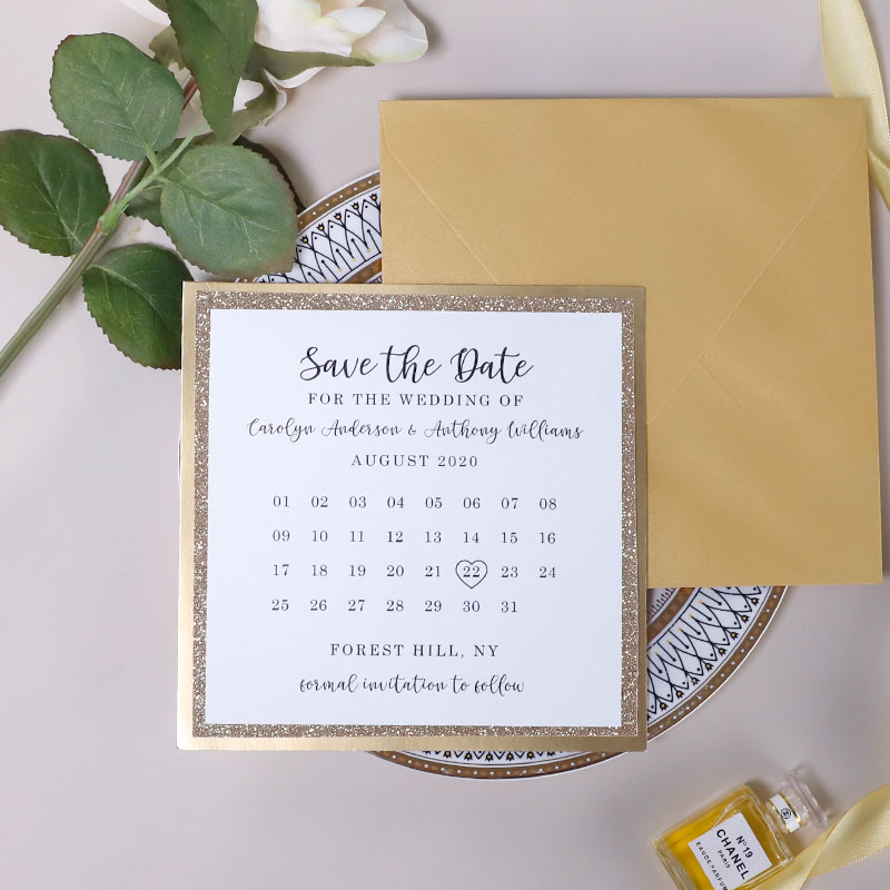 Gold Mirror and Rose Gold Glitter Layered Calender Save The Date Cards PBSAVF009