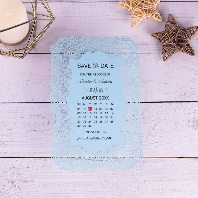 Romantic Personalized Rose Laser Cut Calendar Save The Date PBSAVF010
