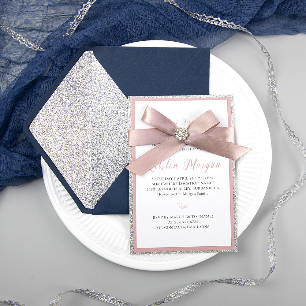 Blush Quinceanera Invitation Elegant Invitation Blush Navy Invitation Glitter Quinceanera PBSWEF002