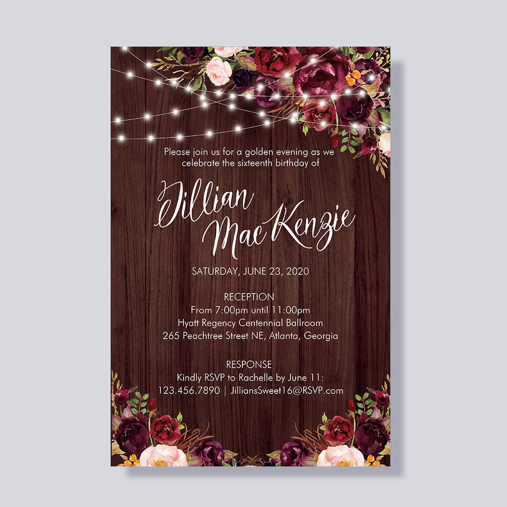 Rustic Baby's Breath Burgundy Mason Jar Country Bridal Shower Party Invitation Cards PBSWEF005