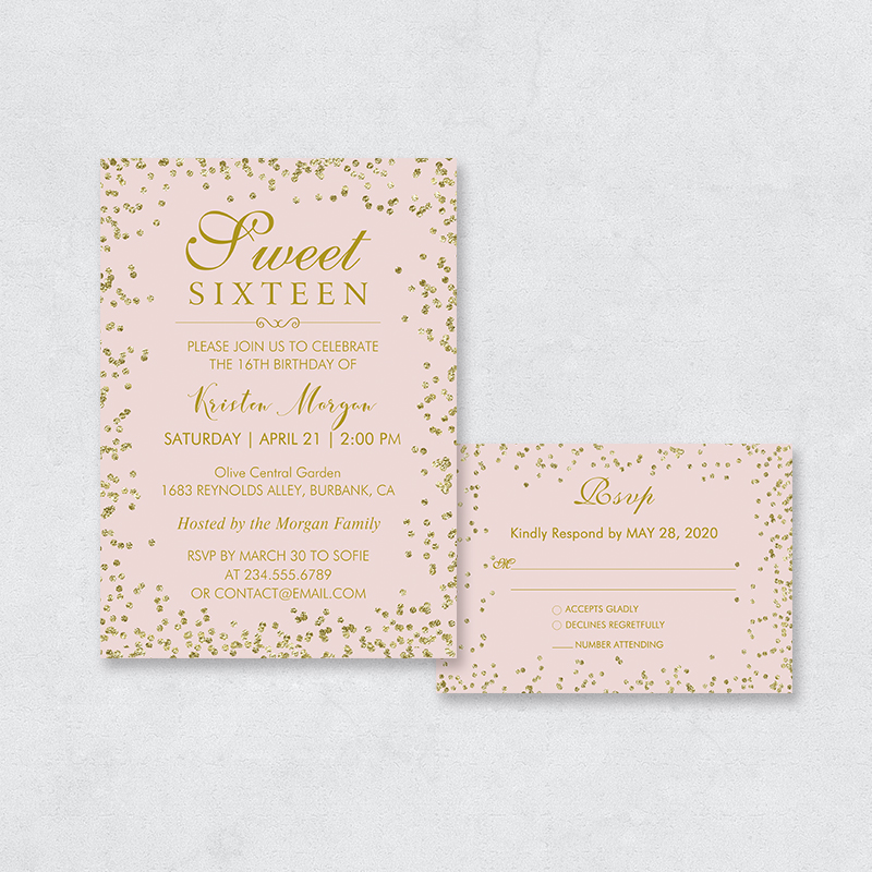 Faux Gold Glitter Chic Sweet 16 Invitation PBSWEF006