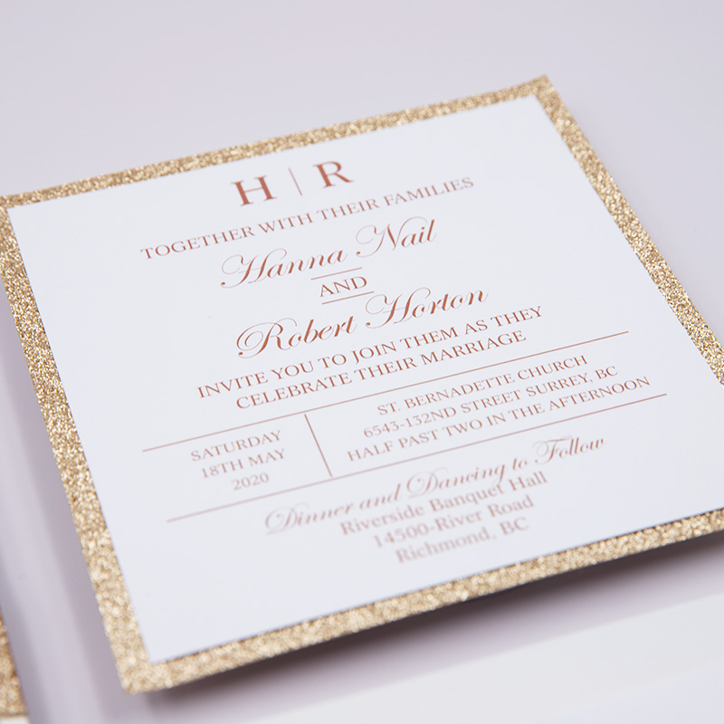 Elegant Rose Gold Luxury Glittery Wedding Invitation Suite PBWED001
