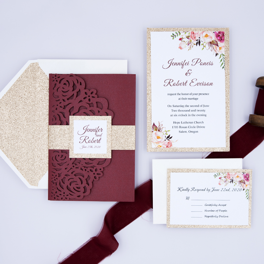 Burgundy Floral Sparkle Pocket Glittery Wedding Invitation Suite PBWED002