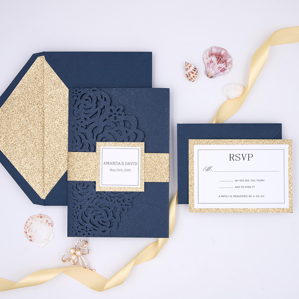 Navy Sophisticated Classic Simple Elegance Pocket Wedding Invitation Suite PBWED003