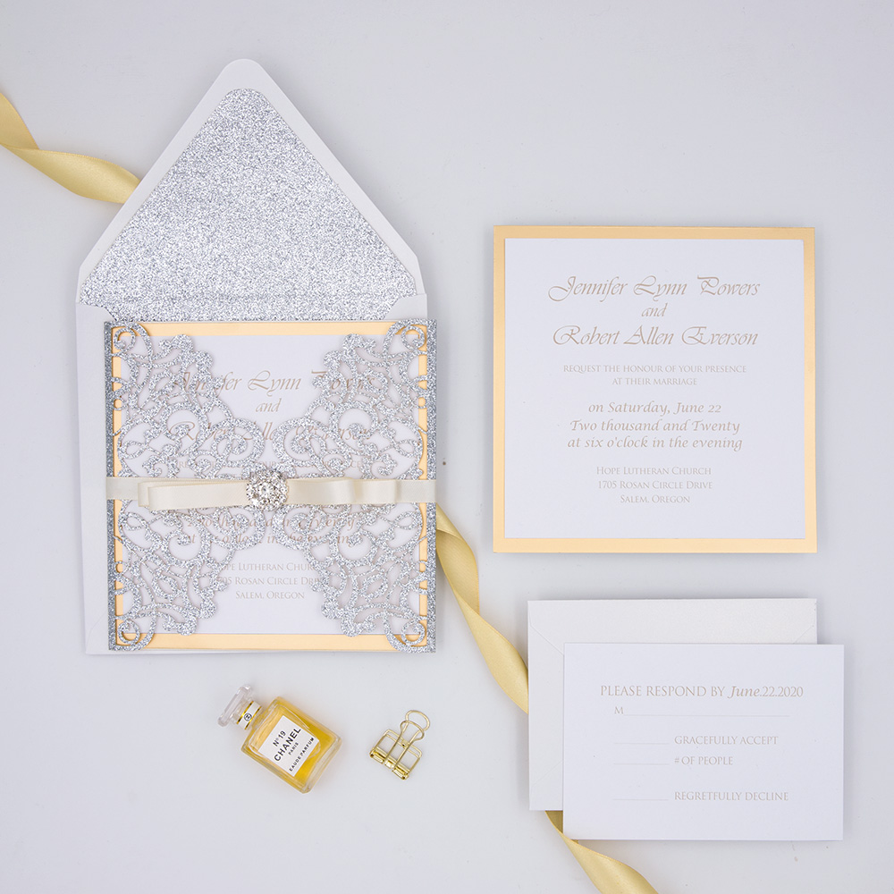 Gorgeous Gold Glitter Laser Cut Wedding Invitation Suite PBWED004