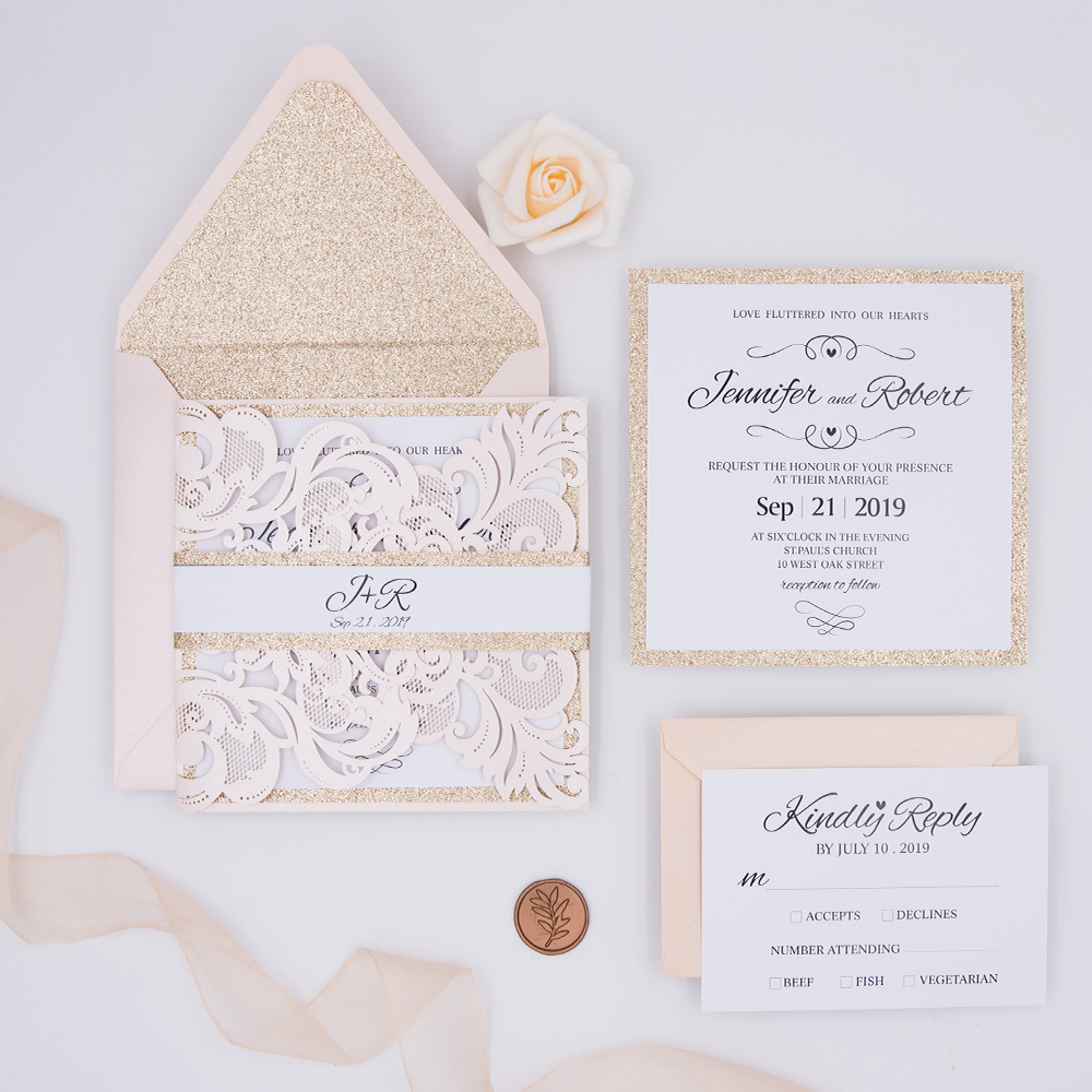 Classic Romantic Blush Laser Cut Wedding Invitation Suite PBWED005
