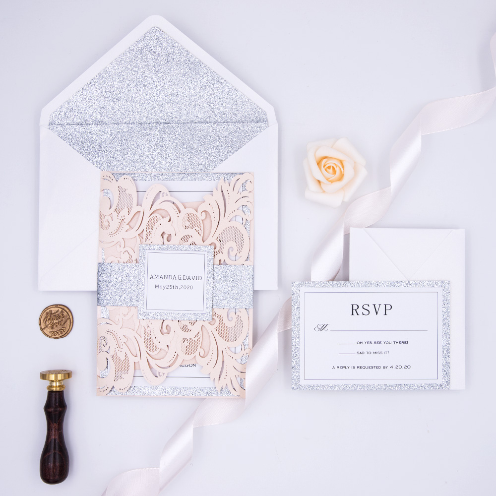 Stylish Blush with Silver Sparkle Laser Cut Wedding Invitation Suite PBWED006