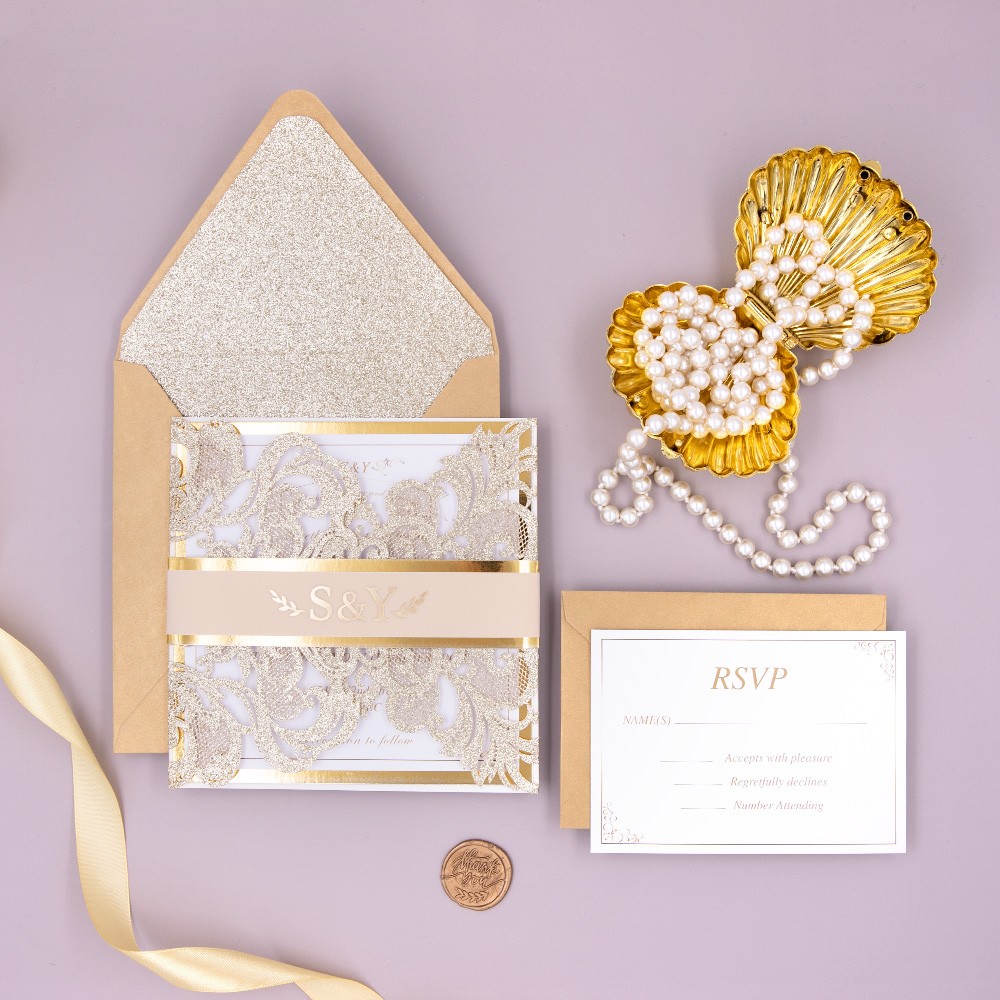 Glowing in Gold Foil All Sparkle Laser Cut Wedding Invitation Suite PBWED007