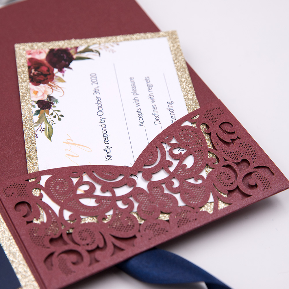 Delicate Burgundy Shimmer Floral Rose Laser Cut Wedding Invitation Suite PBWED008