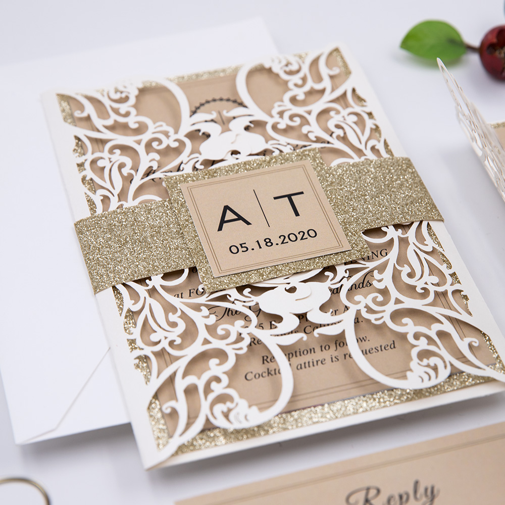 Champage and Ivory Elegance Laser Cut Wedding Invitation Suite PBWED009
