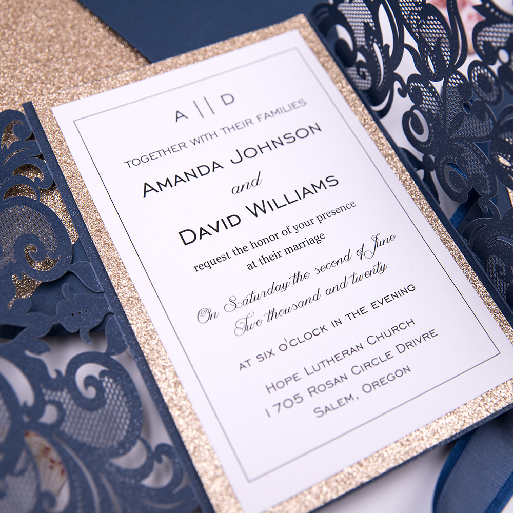Navy and Rose Gold Chic Laser Cut Wedding Invitation Suite PBWED010