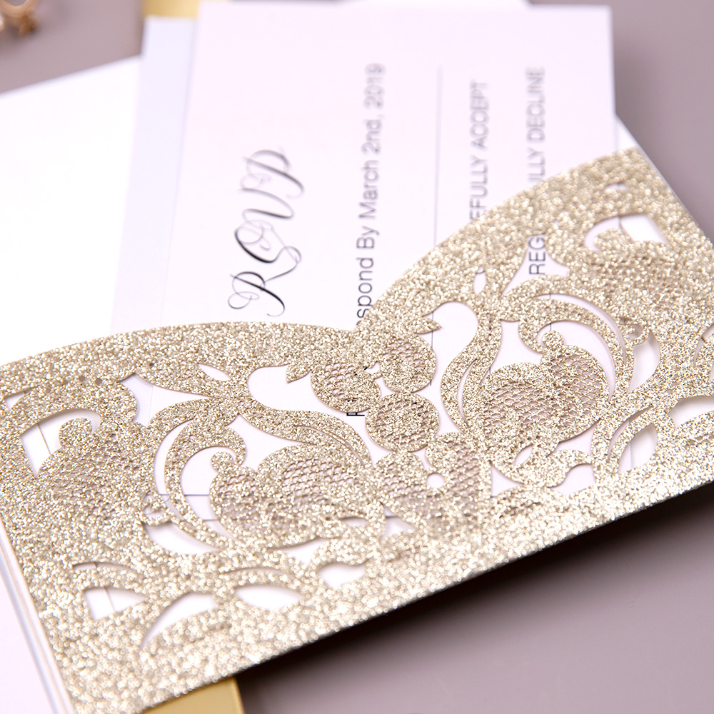 Modern Gold Foiled Laser Cut Glitter Wedding Invitations PBWED011