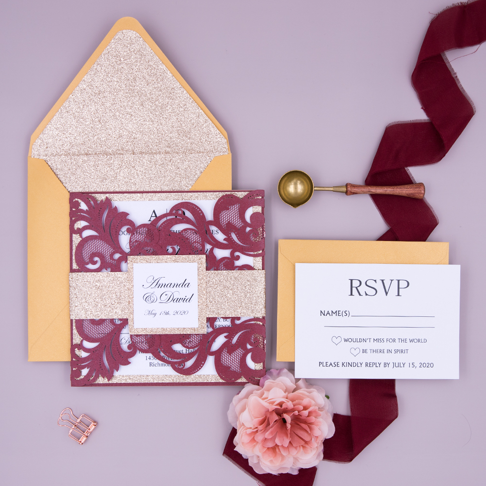 Burgundy & Gold Laser Cut Gate Fold Wedding Invitation PBWED013