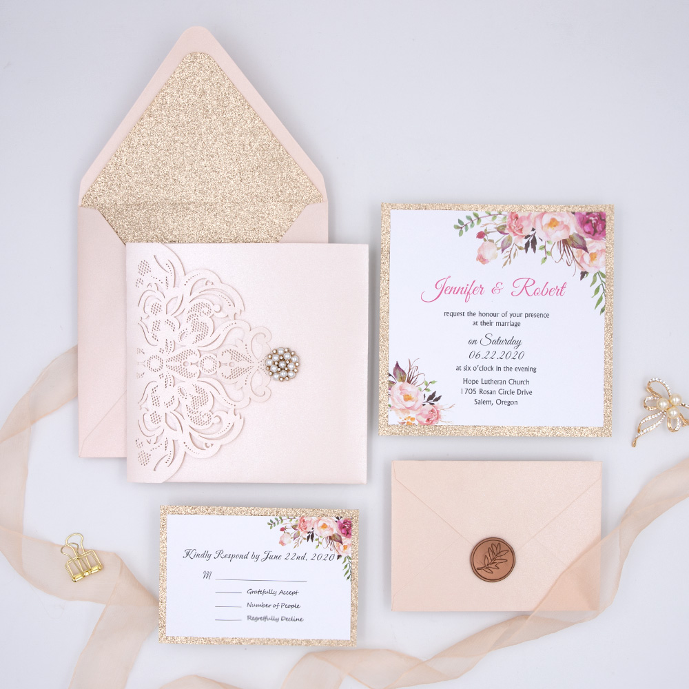 Elegant Blush & Rose Gold Laser Cut Pocket Wedding Invitation with Floral and Bling Rhinestone PBWED014