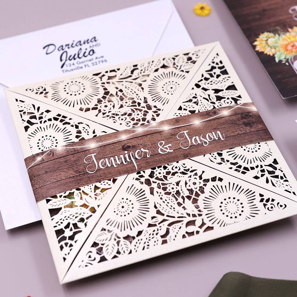 Sunflowers Rustic Shimmer Laser Cut Wedding Invitation PBWED015