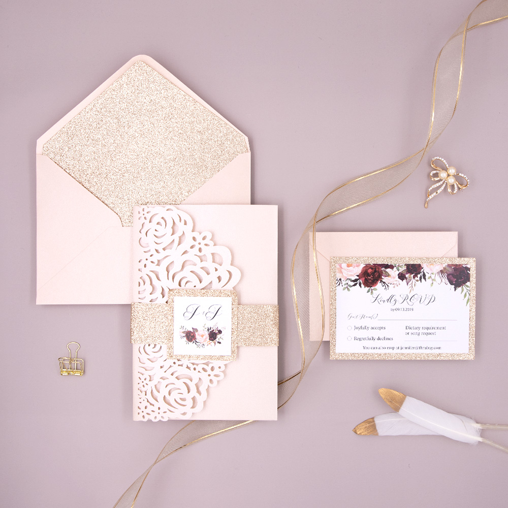 Floral Blush Shimmer & Rose Gold Glitter Laser Cut Pocket Wedding Invitation PBWED016